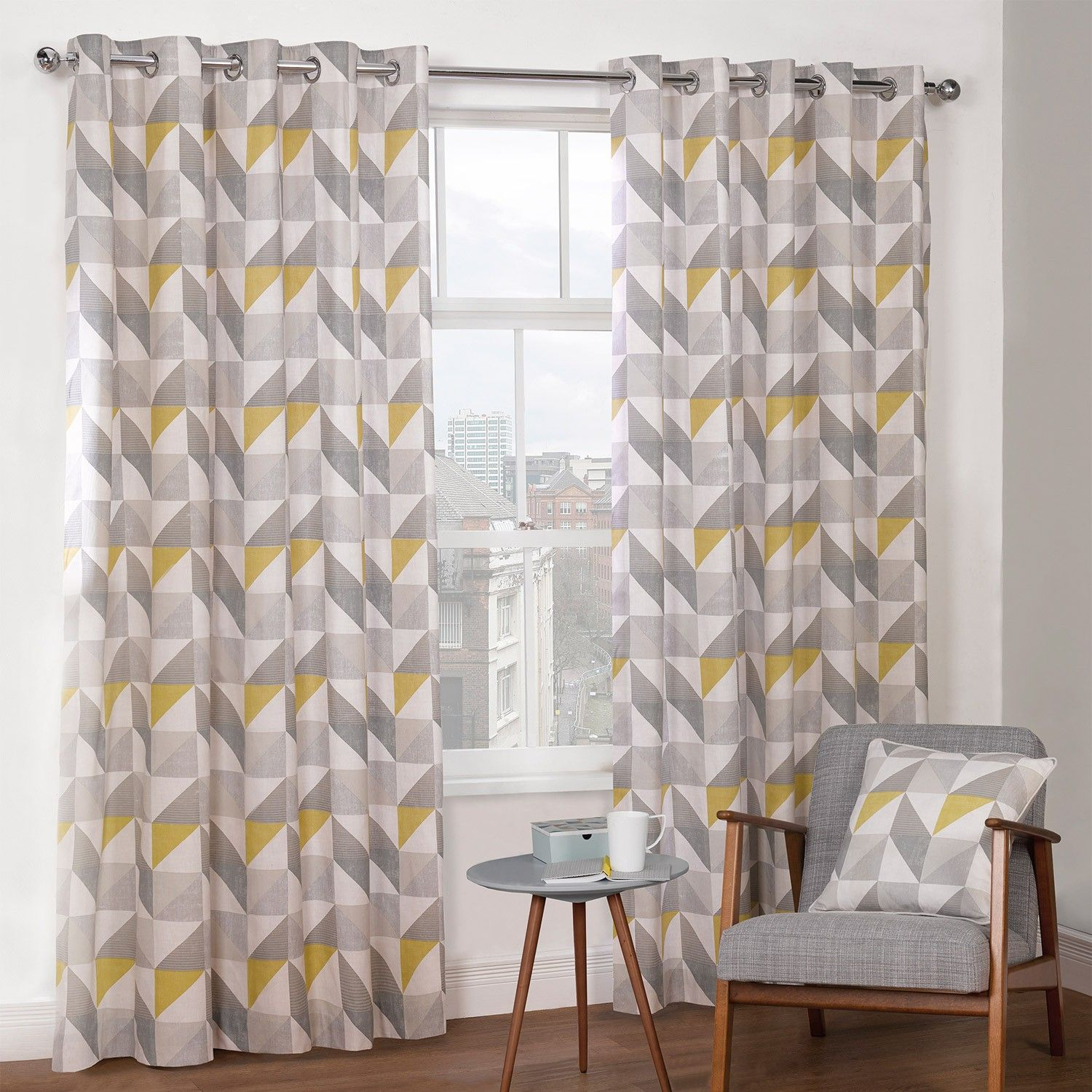 Kitchen Curtains Yellow And Gray: Delta Grey & Yellow Luxury Lined Eyelet Curtains (Pair