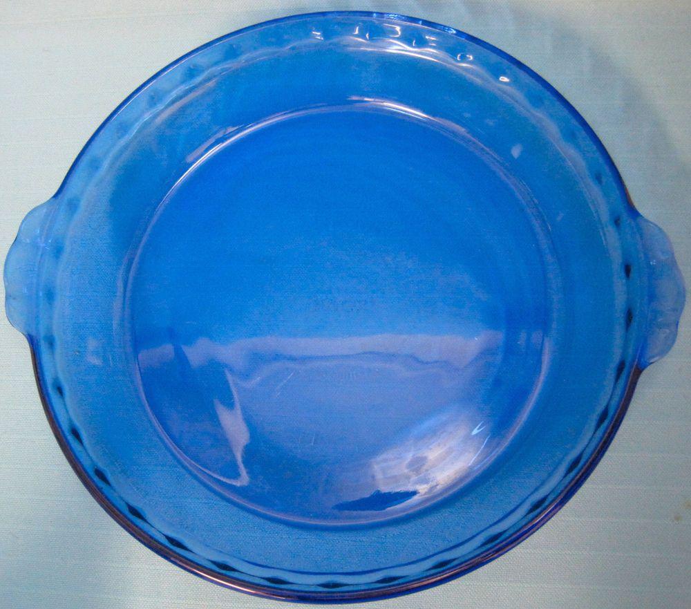 Pyrex Royal Blue Glass Pie Pan Cake Baking Dish 10 & Pyrex Royal Blue Glass Pie Pan Cake Baking Dish 10\