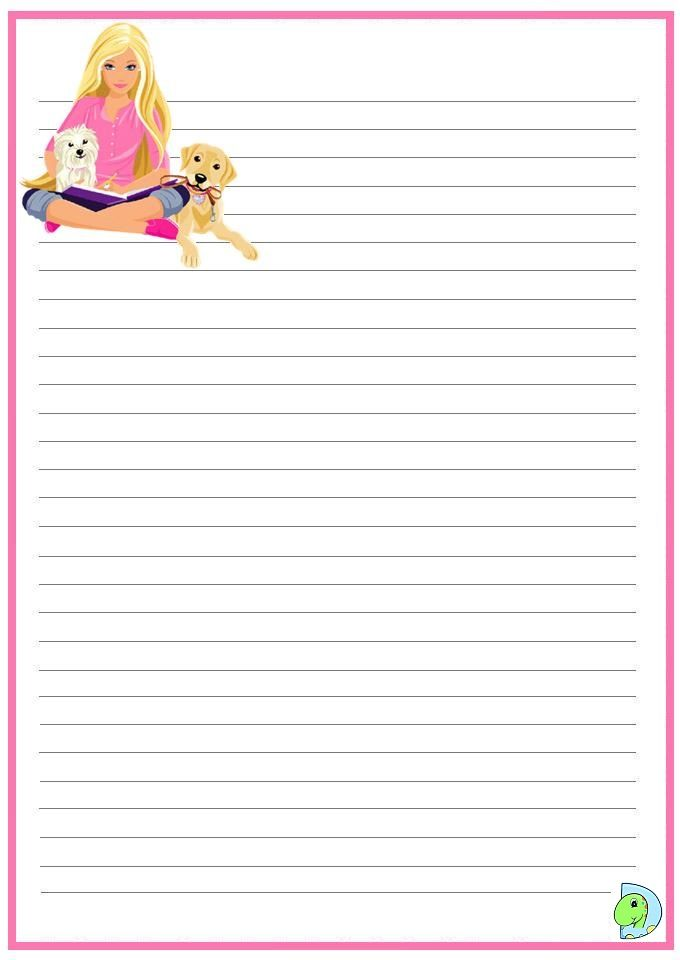 coloring page barbie printables writing paper free printable stationery paper. Black Bedroom Furniture Sets. Home Design Ideas