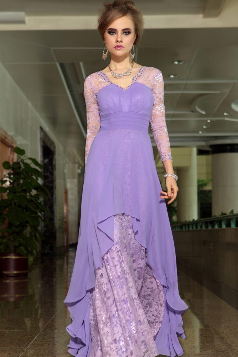 Buy Prom A Line Floor Length V Neck Full Sleeves 30879 latest design ...