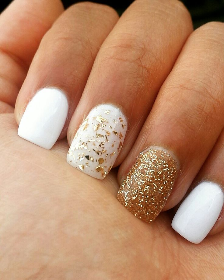Amazing white gel nails with gold glitter - LadyStyle - The Lazy Girl's Guide To Getting The Perfect Manicure Beauty