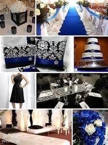 Damask Black Royal Blue And White Wedding