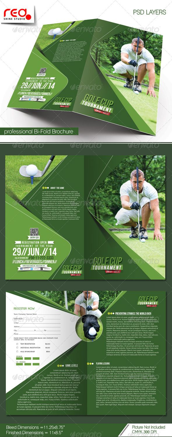 Golf Tournament BiFold Brochure Template  Stuff To Buy
