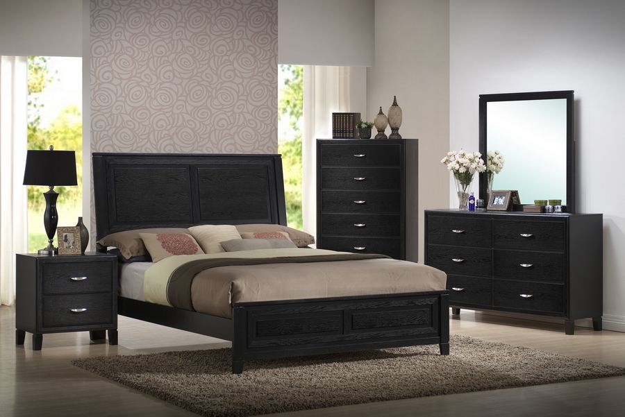 Eaton Black Wood 5 Piece Queen Modern Bedroom Set Home Furniture