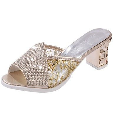 Mujer Zapatos PU Verano Talón Descubierto Sandalias Tacón Cuadrado Puntera abierta Dorado / Negro / Plata OuZvW