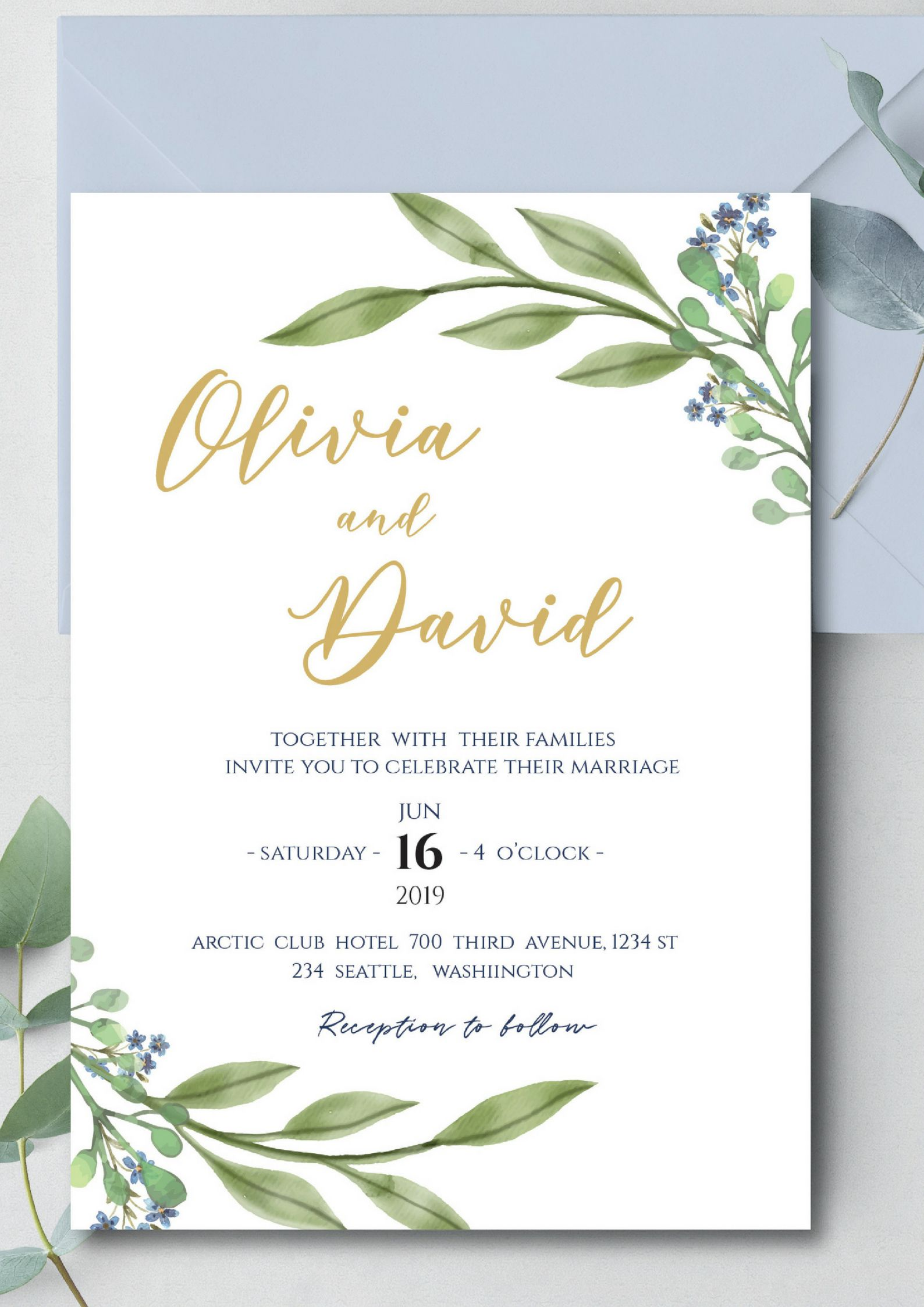 Watercolor Leaves Wedding Invitation Downloadable Wedding