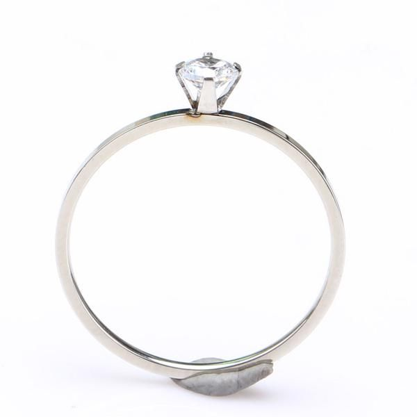 Stainless Steel Ring with White Zircon