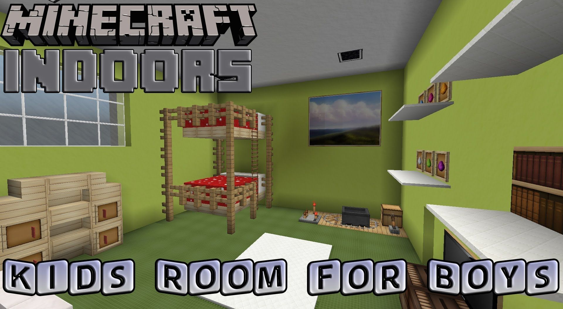 Very cool video tutorial for making a boys room in for Minecraft lounge ideas