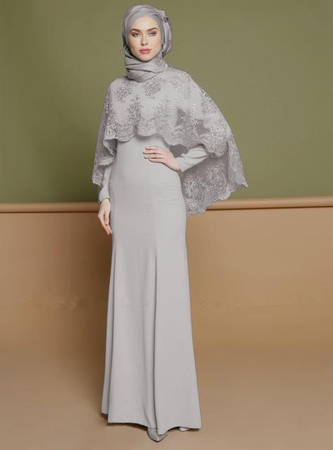 43de872728 Elegant Grey Turkish Style Abaya Gown