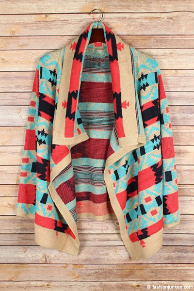 PLUS SIZE Thick Tribal Aztec Print Cardigan Sweater-Coral, Aqua Blue & Taupe - PREORDER NOW TO MAKE SURE YOU GET ONE!!