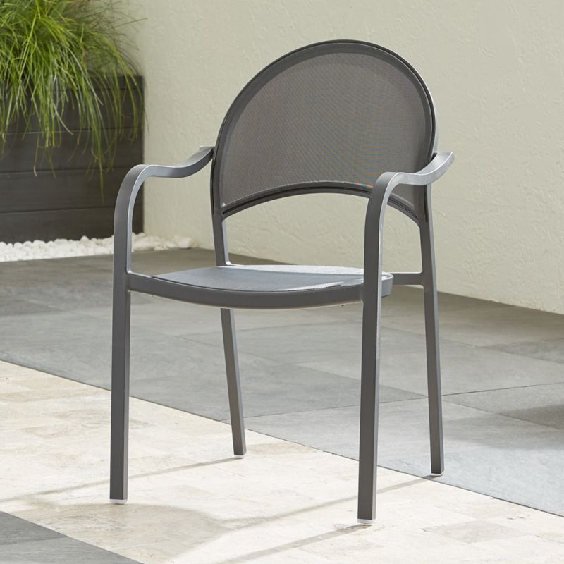 Lanai Charcoal Mesh Dining Chair Reviews Crate And Barrel Outdoor Dining Chairs Outdoor Chairs Metal Dining Chairs
