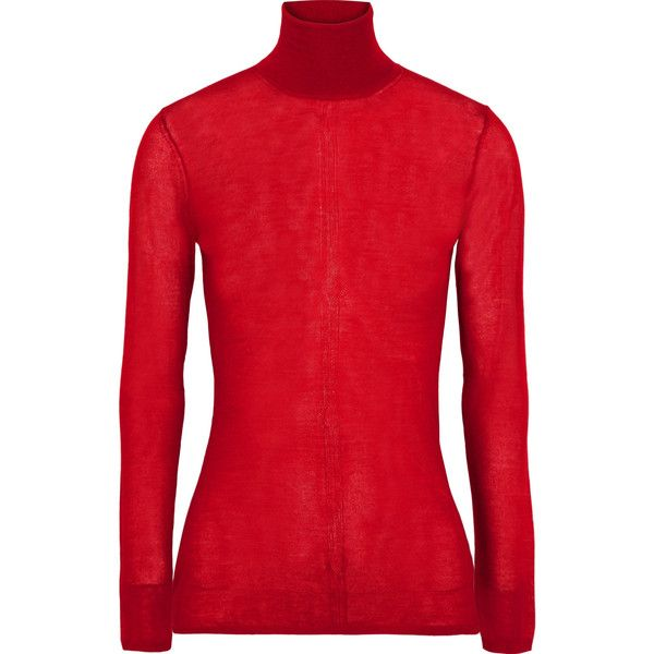Gabriela HearstSteinem Cashmere-blend Turtleneck Sweater (4.725 NOK) ❤ liked on Polyvore featuring tops, sweaters, red, red sweater, red top, polo neck sweater, cashmere blend sweater and turtleneck sweaters