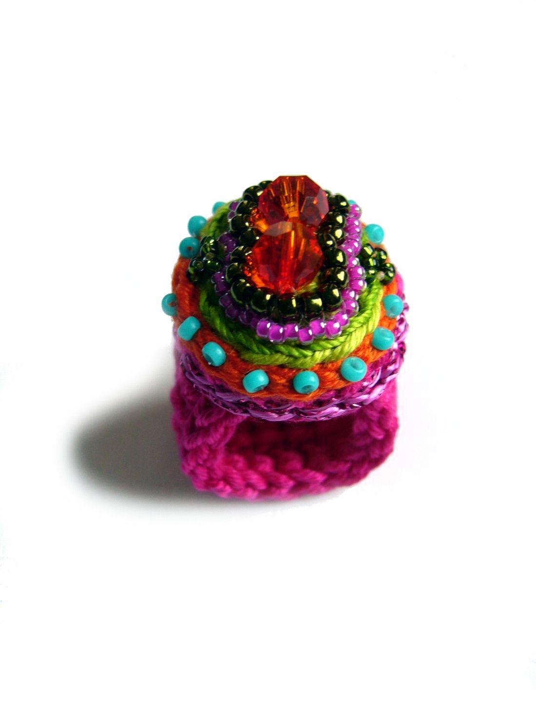 Crochet Ring Häkelring Mit Swarovski Perlen Und Rocailles