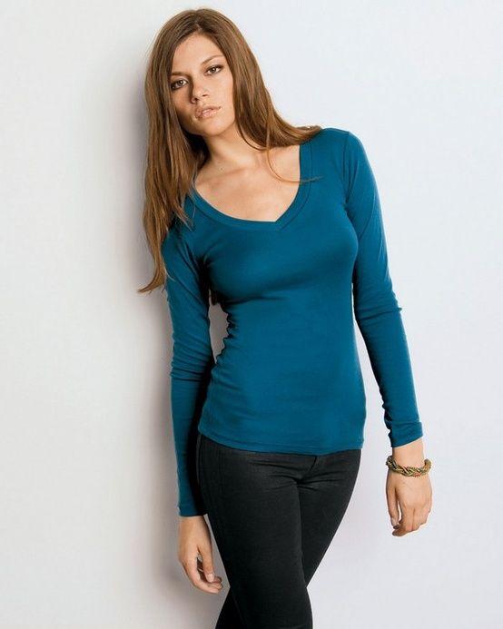 c0cbdc1ea5416d Bella B8750 Ladies 4 oz. Andrea Sheer Rib Longer-Length V-Neck Long