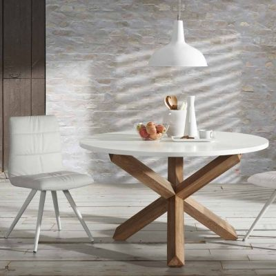 Tavolo da pranzo tondo in legno Lola, piano bianco | idee ...