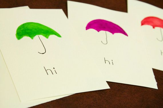 A handpainted umbrella card for those days when you'd simply like to say hello, jot a little note, or mail a thank you. Free Shipping.