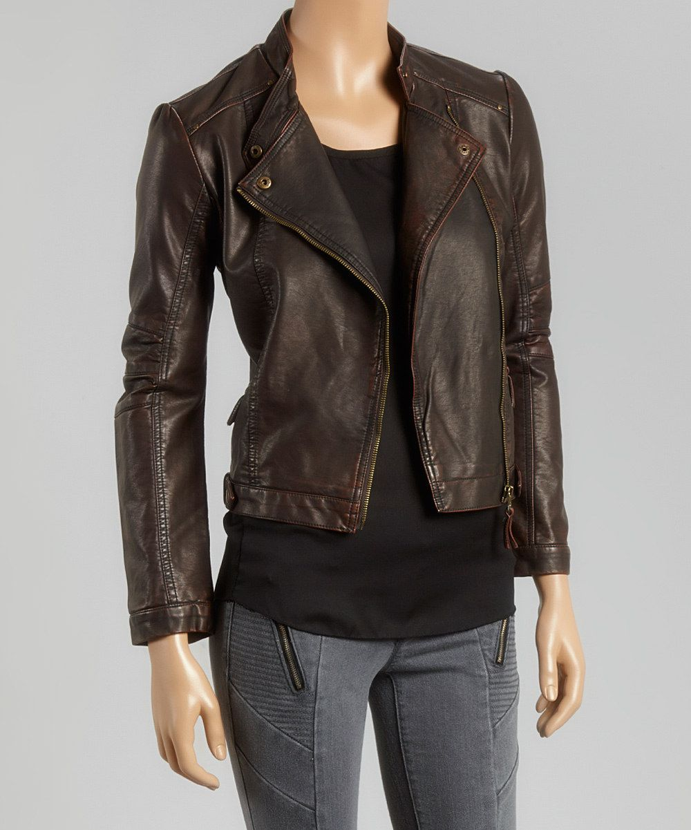 Look at this PAPARAZZI Brown Faux Leather Moto Jacket on