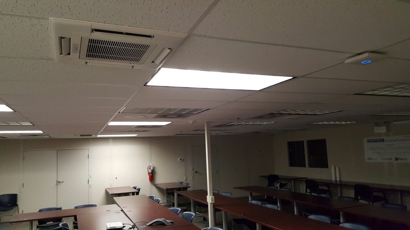 Conference Room With Mitsubishi Ductless Ceiling Cassettes