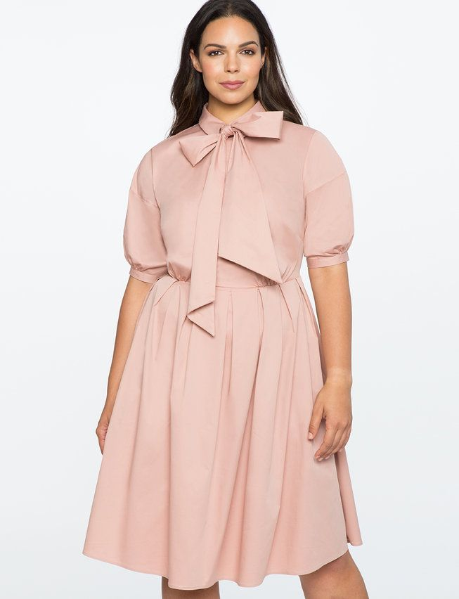 Fit and Flare Dress with Oversized Bow | Women\'s Plus Size Dresses ...