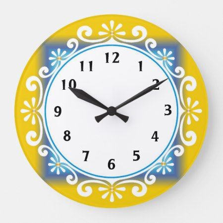 Decorative Wall Clock Yellow Frame Large Clock Zazzle Com Clock Wall Decor Wall Clock Clock