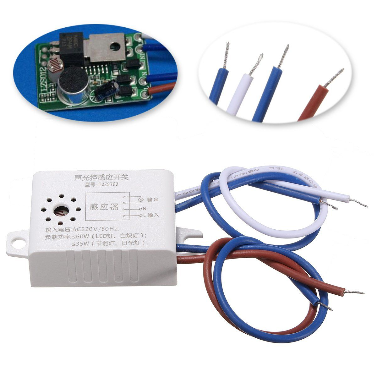 Ac 220v Sound Voice Sensor Intelligent Auto On Off Light Switch In Car Lights Delay Time