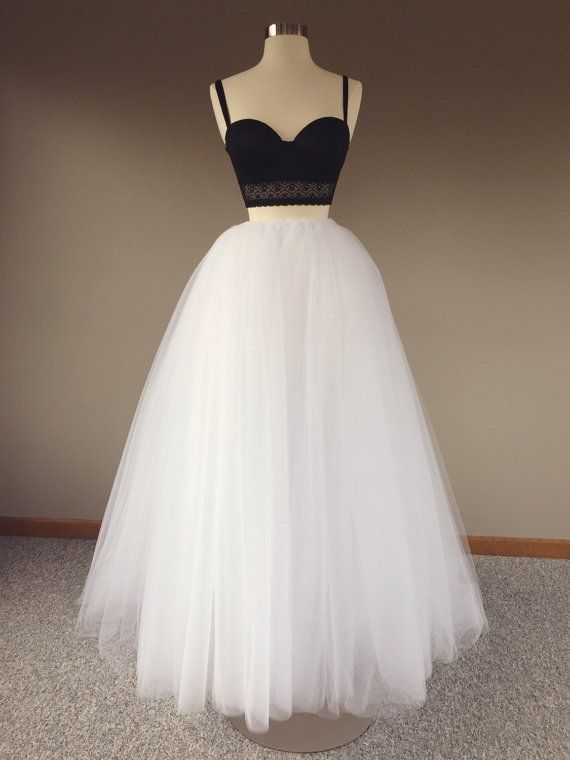 Floor length tulle skirt white tulle skirt adult tulle for How to make a long tulle skirt for wedding dress