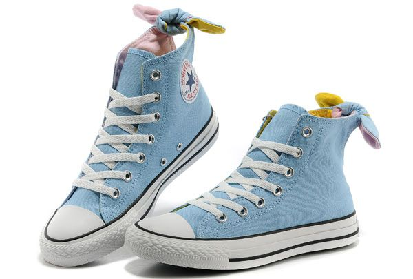 Converse All Star Light Blue Bowknot Girl Women Ladies High Tops ... 9ff91b90b