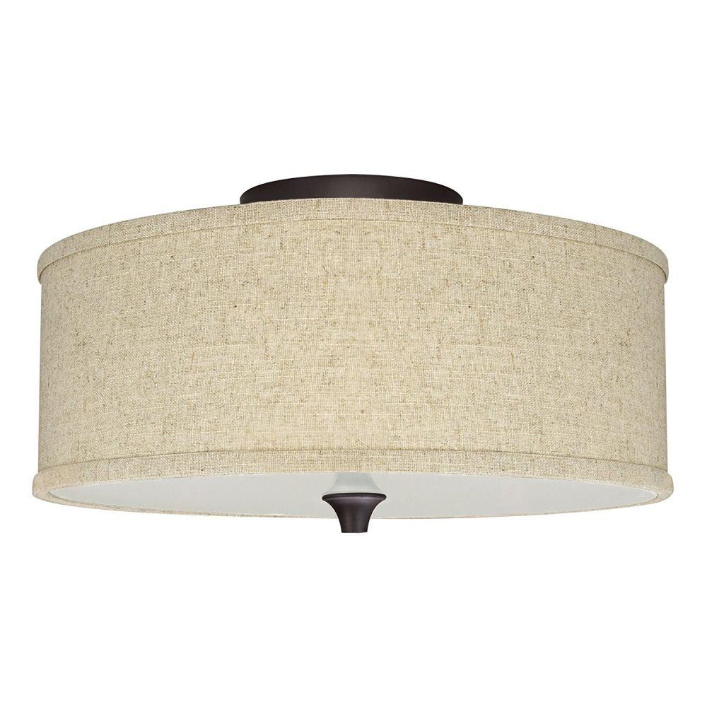 Revel Newport 14 2 Light Semi Flush Mount Ceiling Light Beige