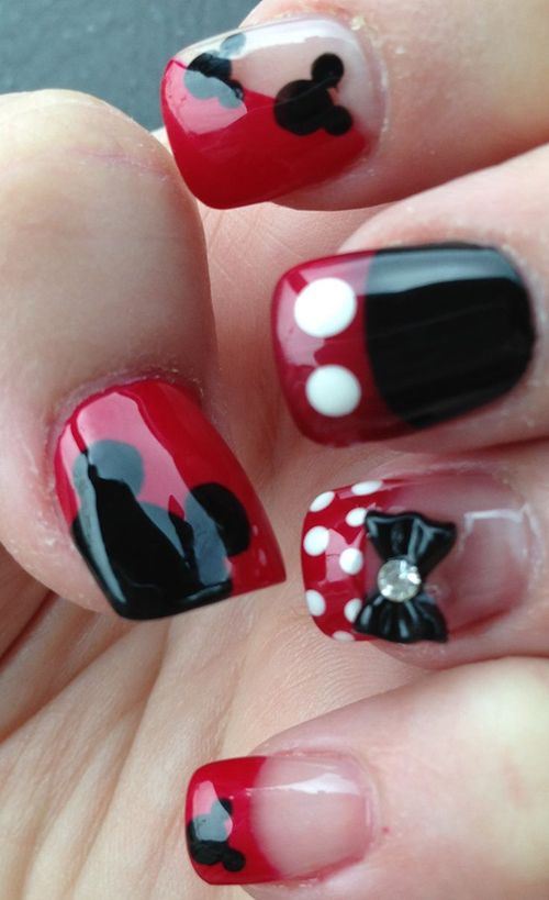 Uñas Mickey y Minnie Mouse | uñas | Pinterest | Casa de mickey ...