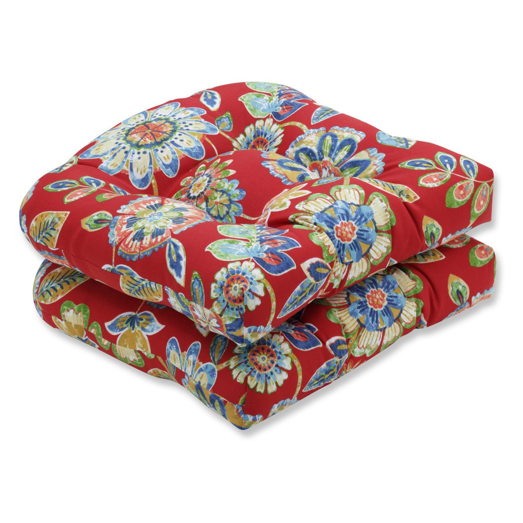 Pillow perfect daelyn cherry wicker chair seat cushion set of