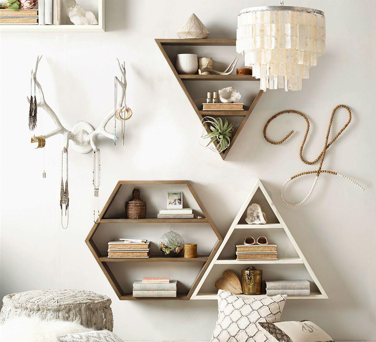 Hexagon Wood Curio Shelf White Room decor, Room
