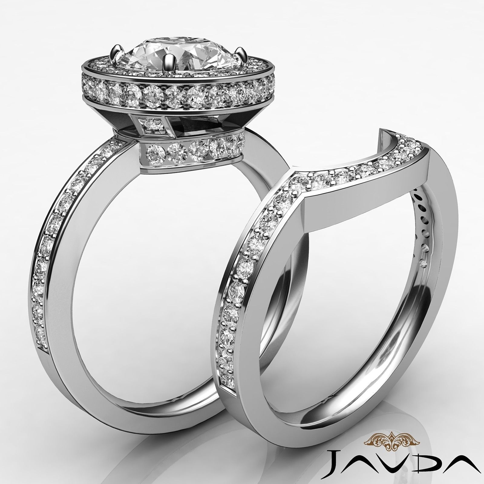 Round diamond halo pave bridal set engagement ring egl f si
