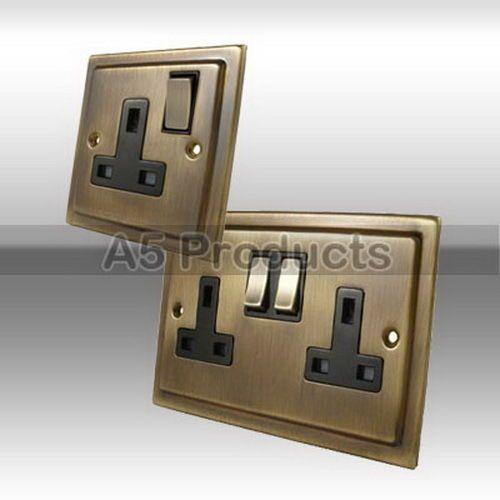 13a Wall Power Plug Socket 1 2 Gang Victorian Period Antique Dark Brass Light Switches And Sockets Dark Brass Plug Socket