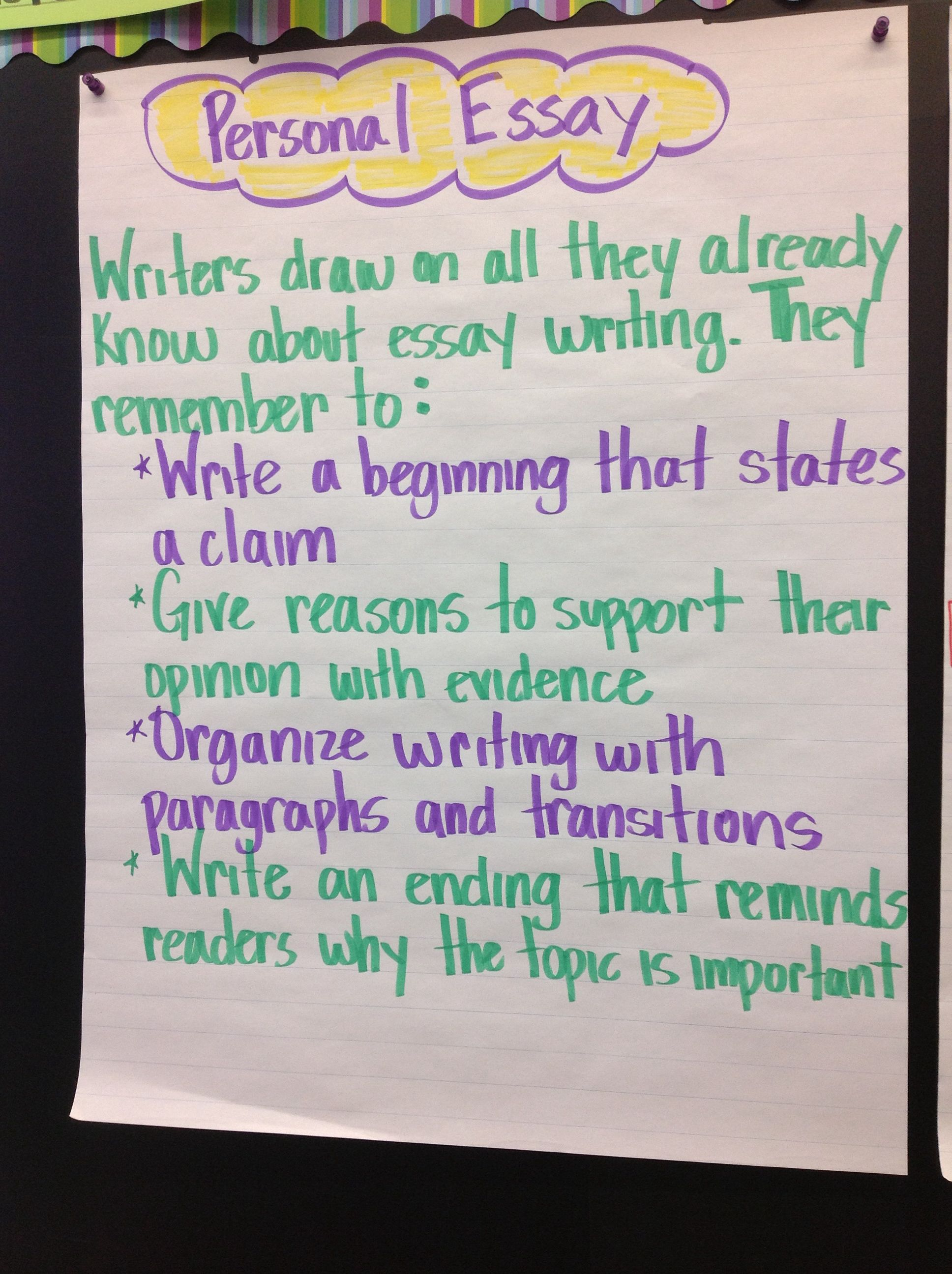 Anchor Chart Personal Essay