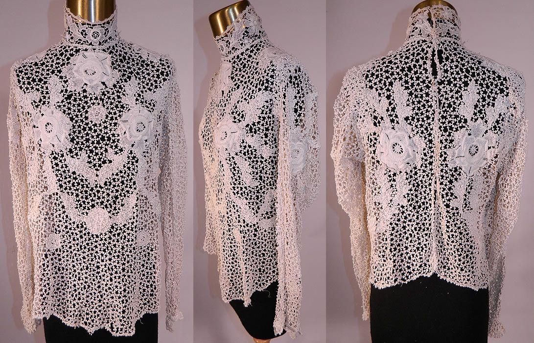 Edwardian white point de venise needle lace applique blouse shirt