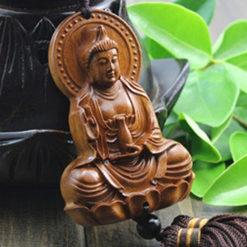 Chinese Kwan Yin Statue Sculpture Delicate 3D Wood Carved Car Pendant Amulet