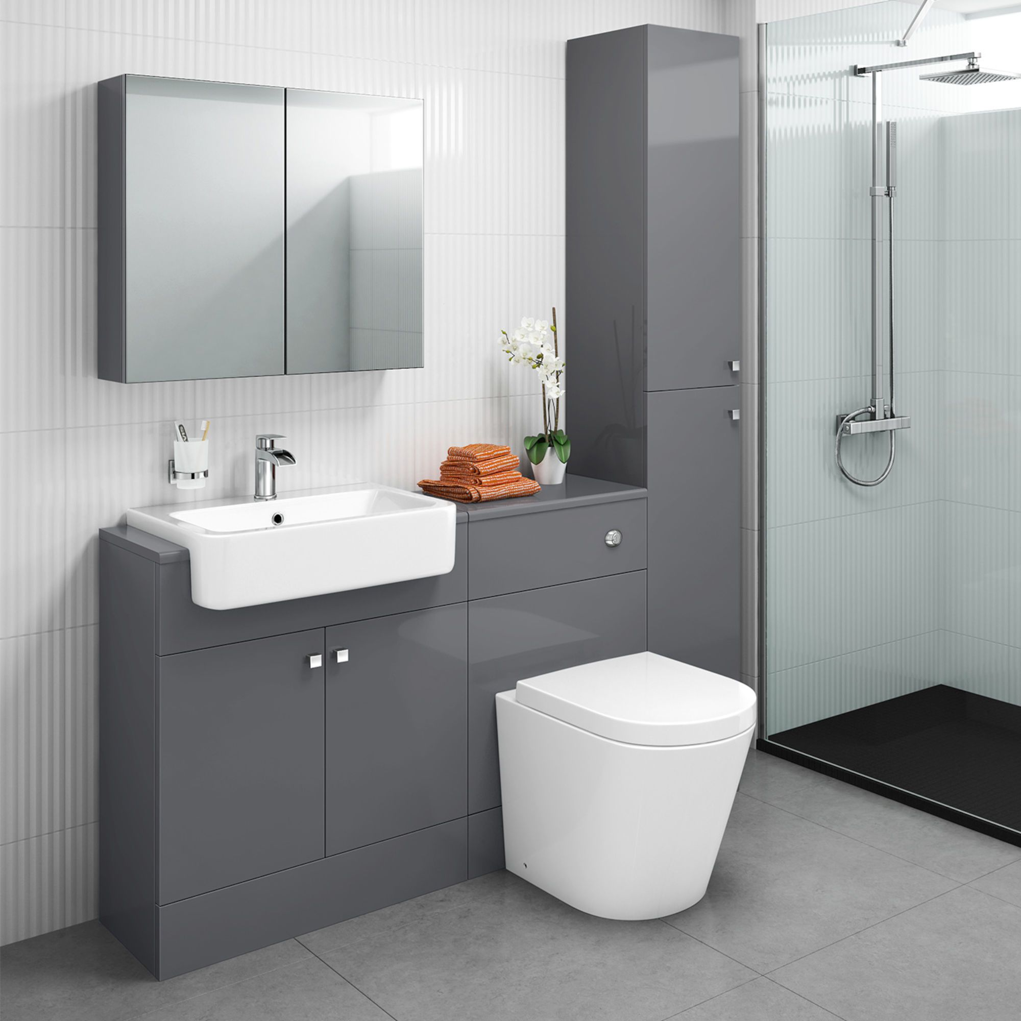 1500mm Harper Gloss Grey Combined Vanity Unit Tall Unit Lyon