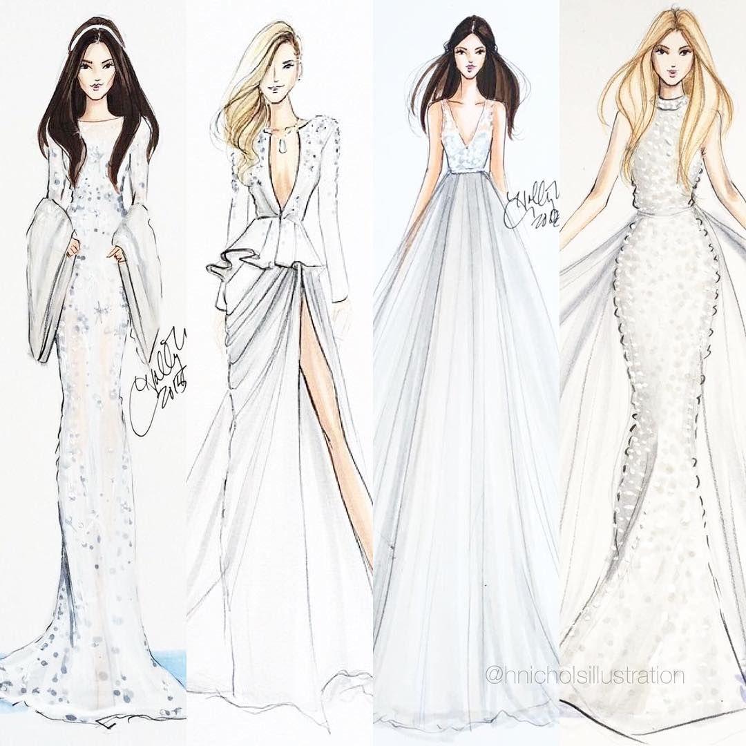 Wedding dress drawing  hnicholsillustration  amazing  Pinterest  Wedding Dress sketches