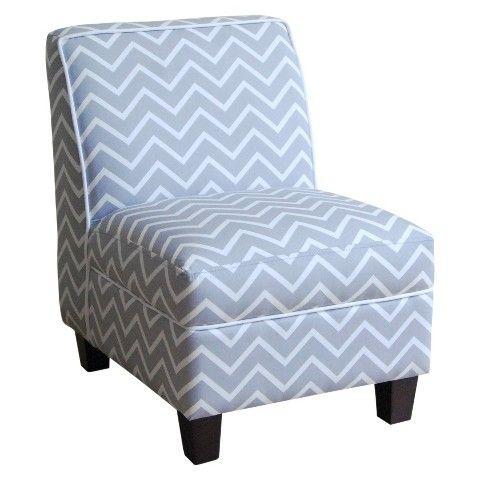 Kids Upholstered Slipper Chair   Gray Chevron