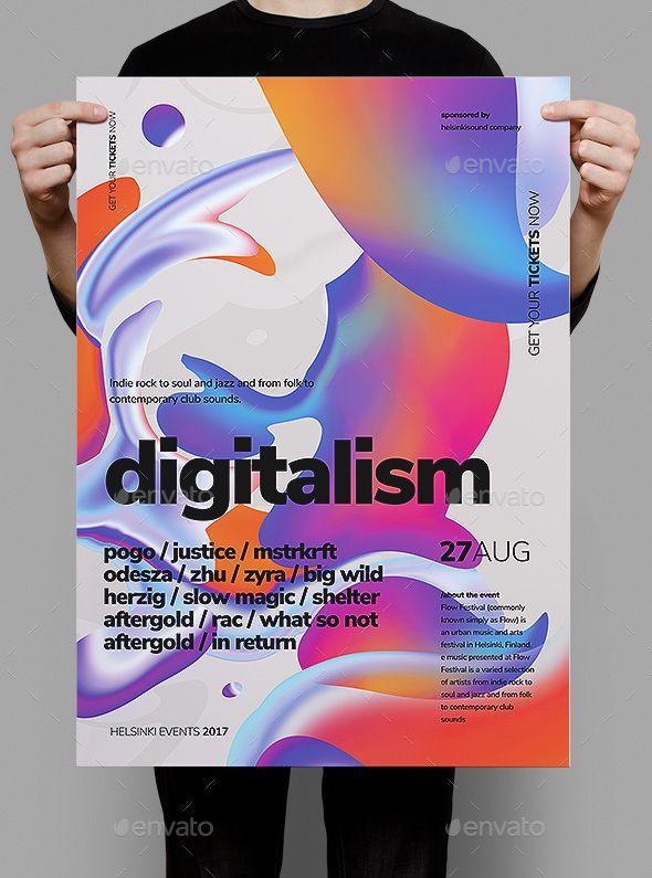 Digitalism Poster   Flyer Event flyers, Flyer template and Template - advertising poster templates