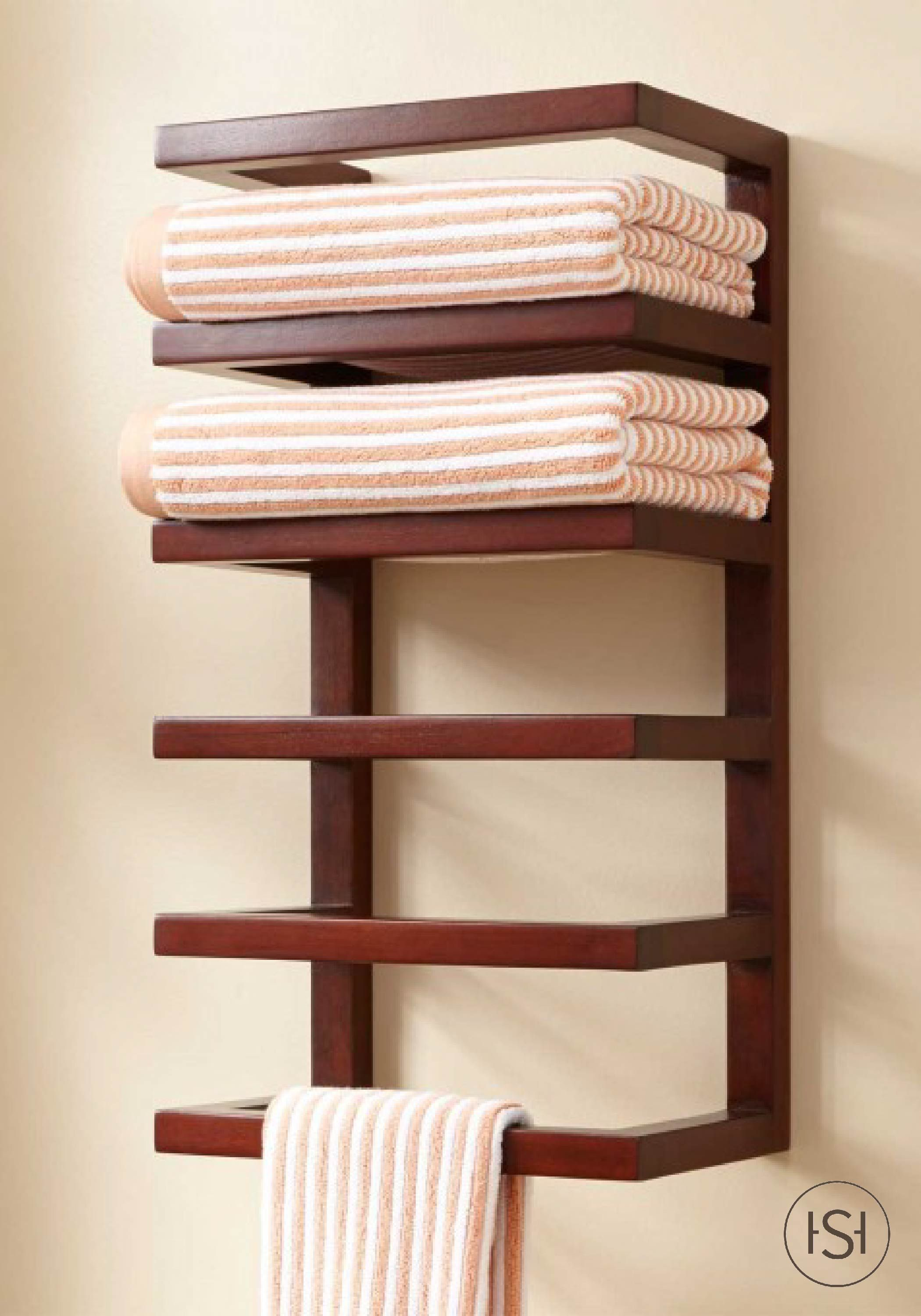 bring a natural look to your master bathroom with this mahogany hanging towel rack the stacked design of this decor piece saves space and creates ample