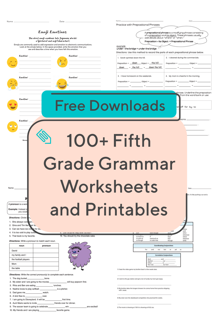 Does your fifth grader need to brush up on grammar skills? This collection  of resources is here to help! #grammar #fi…   Grammar worksheets [ 1102 x 735 Pixel ]