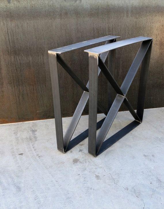 Metal Table Legs Flat Bar U Shape With X Brace Etsy In 2020 Metal Table Legs Metal Table Steel Table Legs