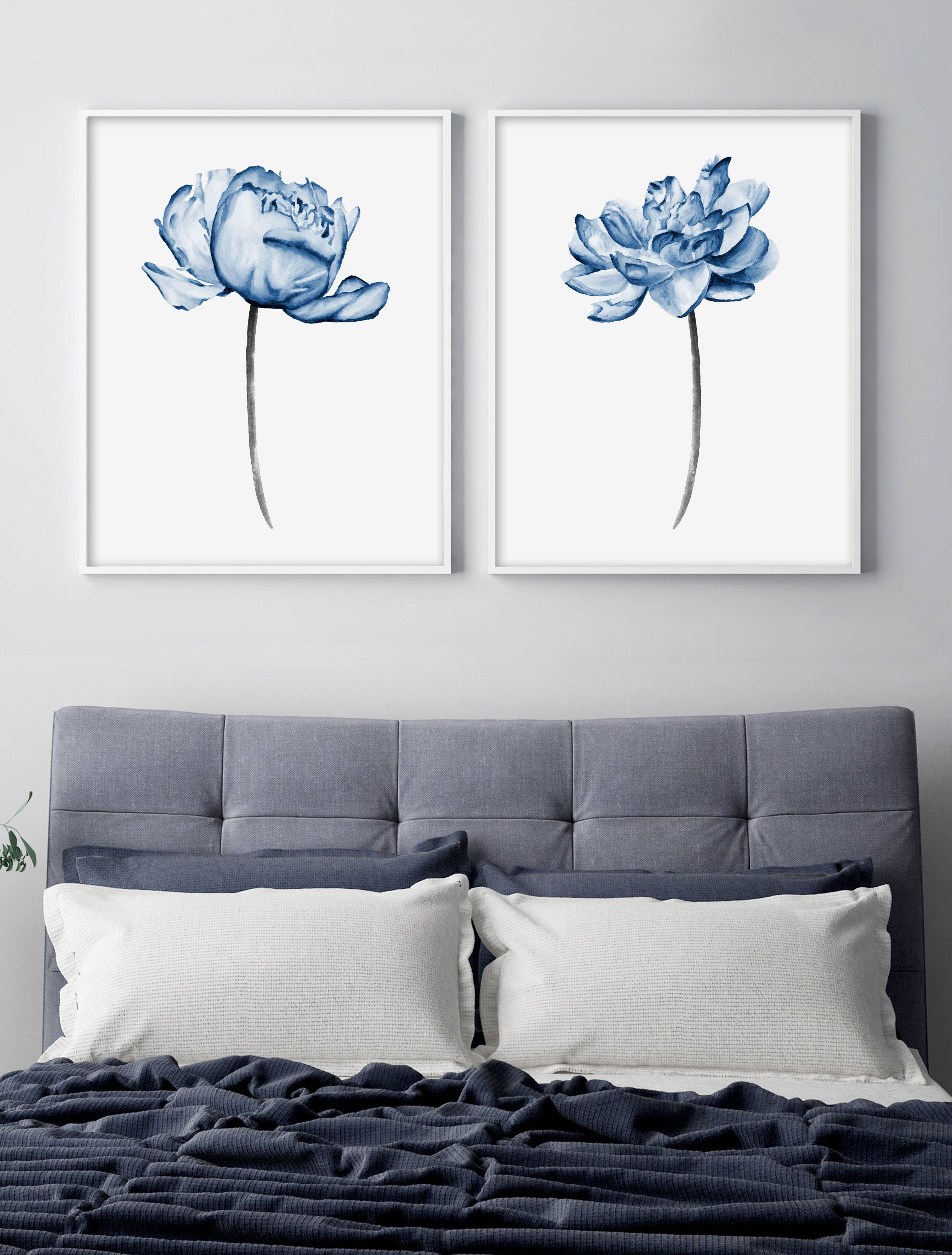 Printable Wall Art Set Of 2 Blue Flowers Print Peony Watercolor