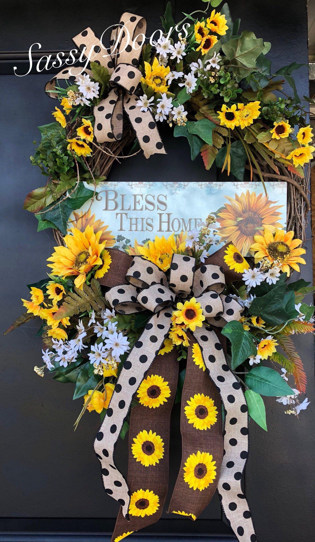 Sunflower wreaths bless this home wreathsummer wreath summer