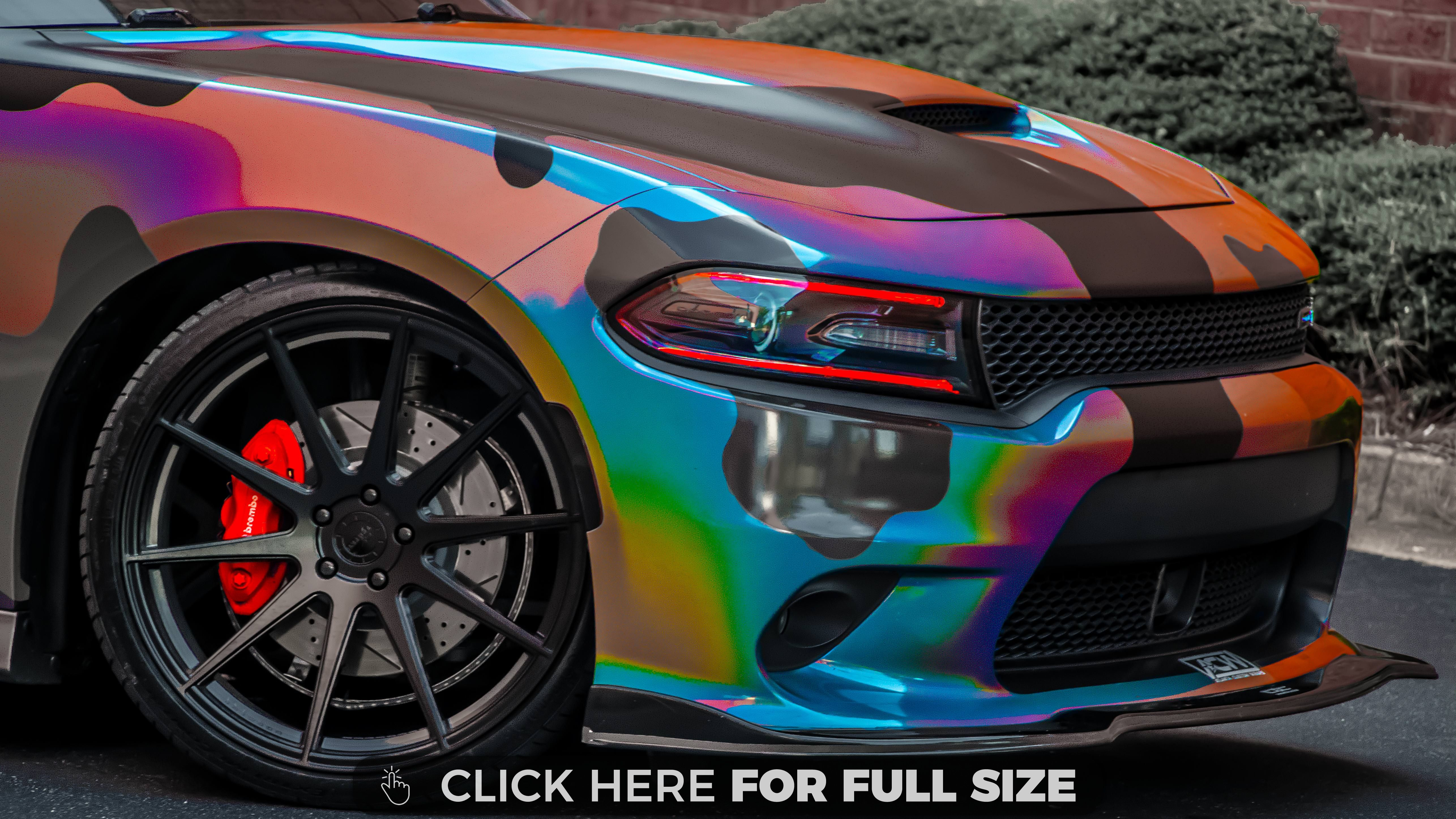 Holographic Camo Wrapped Dodge Charger Scatpack 4k Wallpaper Dodge Charger Dodge Charger Hellcat Camo Wraps