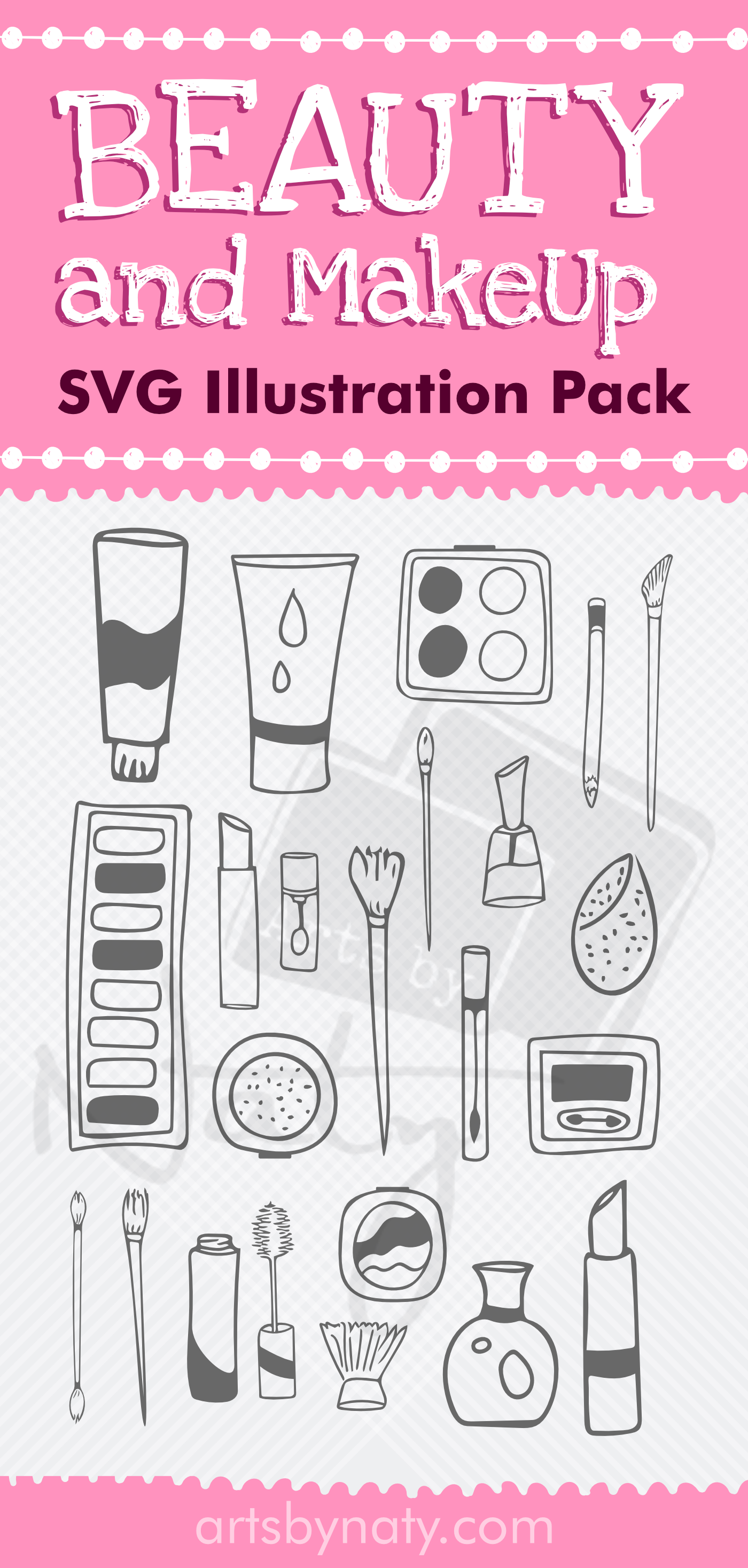 Makeup Svg : makeup, Beauty, MakeUp, Illustration, Elements., Hands,, Store, Branding,, Makeup
