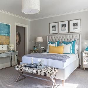 Beach Glass Interior Designs   Bedrooms   Yellow Lumbar Pillows, Gray  Walls, Bedroom With. Turquoise ...