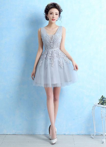 1206c27139 Tulle Cocktail Dress Lace Applique Beading Homecoming Dress Light Grey V  Neck Sleeveless Backless Short Party Dress