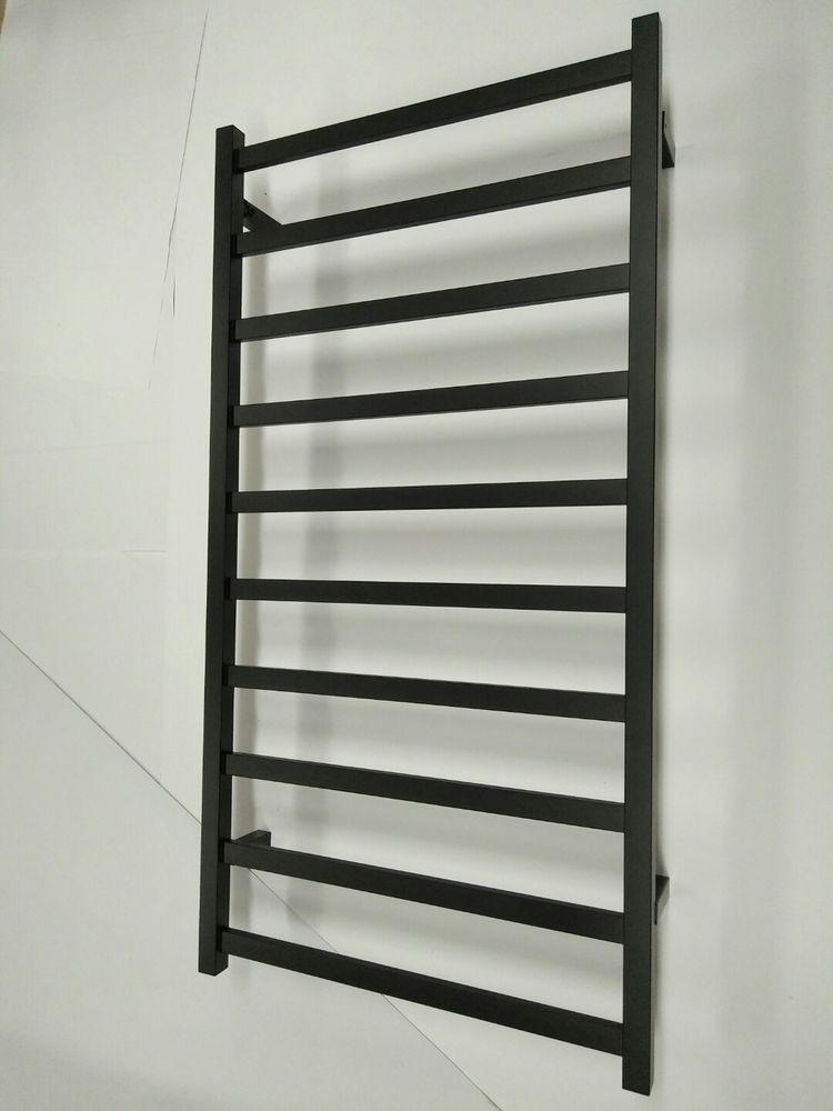 Black Heated Towel Rack Rail 110 Volts US Standard Hard